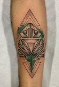 一组设计感十足的点刺手臂纹身