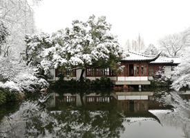 杭州西湖下雪景色