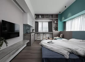 35㎡现代小公寓,低饱和度配色