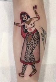 一组性感的欧美女郎oldschool纹身