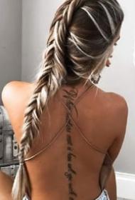 一组女生美背脊柱纹身图案欣赏