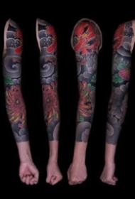 一组传统霸气的花臂纹身