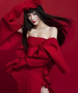 汤晶媚性感红裙写真图片