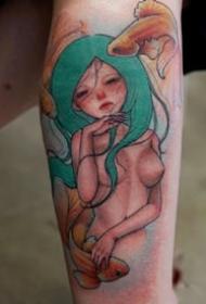 一组可爱女孩彩色纹身图案欣赏
