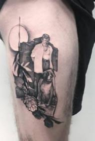 一组黑灰霸气的男士纹身图案