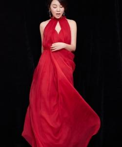 闫妮优雅温婉红裙写真图片