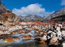 四川海螺沟红石滩风景图片