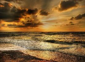 唯美的海滩落日风景图片