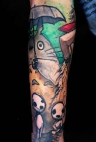 一组可爱五颜六色的纹身图案