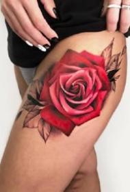 一组花好月圆的玫瑰花女生纹身图案