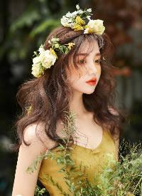 一组黄色鲜花作装饰的女生发型图片