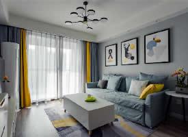 72㎡北欧风格装修,蓝色与黄色增加温馨感