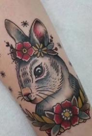 一组超可爱的小兔子纹身图案