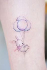 一组超可爱的彩色小兔子纹身图案