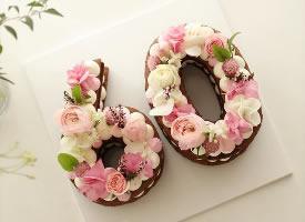 又仙又美的鲜花数字蛋糕
