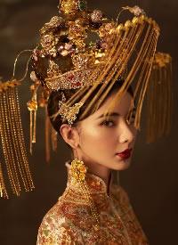 一组雍容华丽的中式新娘造型图片