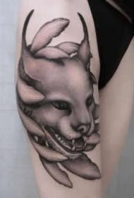 让人耳目一新的黑灰点刺纹身图片