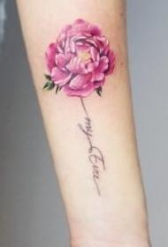 一组彩色花卉纹身图片