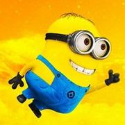 穿蓝色背带装的可爱小黄人卡通头像