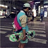 玩滑板的时尚潮男背影微信头像图片