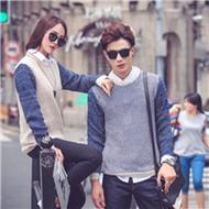 戴墨镜的时尚qq情侣头像一男一女图片