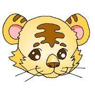 繁复凶悍的卡通老虎手绘头像图片