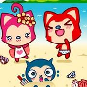可愛卡通情侶阿貍和桃子qq頭像圖片