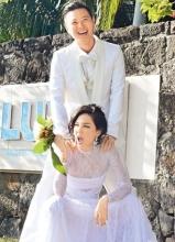 香港歌手郑希怡与男友梁学储婚纱照曝光