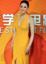 张雨绮亮相大学生电影节 深V黄裙惹眼 小露玉腿性感魅惑