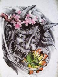 大气时尚的般若纹身手稿