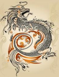一款霸气的龙纹身手稿