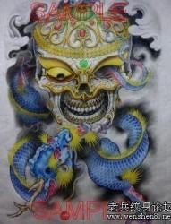 嘎巴拉龙纹身图片:满背彩色嘎巴拉龙纹身图片纹身作品