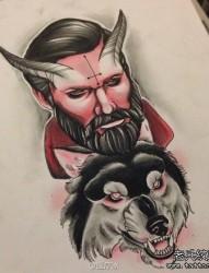 一幅很酷的狼头与恶魔纹身手稿