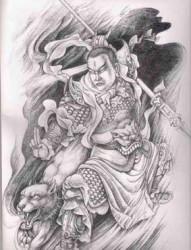 二郎神紋身圖案手稿