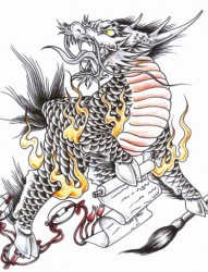 霸气的火麒麟纹身手稿