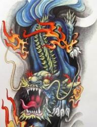 大氣時尚的麒麟紋身手稿