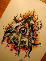 个性的上帝之眼纹身手稿