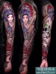 手臂传统花旦纹身图案