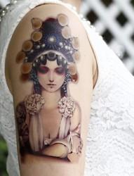 中国京剧人物之美女花旦纹身