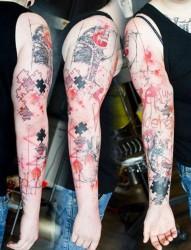 超酷的机械花臂纹身