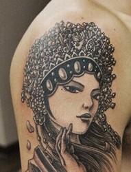 经典漂亮的美女花旦纹身