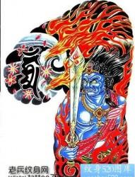 半甲纹身手稿:半甲不动明王纹身火焰纹身手稿