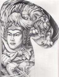 男生喜欢的一幅半胛常山赵子龙赵云老虎头纹身手稿图片作品