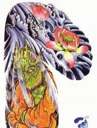 中国传统好看唯美彩色半甲莲花纹身手稿图片展示