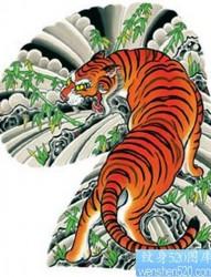 日式老传统经典的传统半甲上山虎纹身手稿图片作品