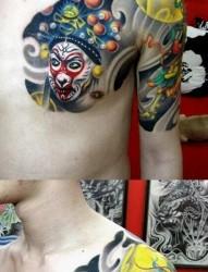 一幅超酷经典的半胛孙悟空纹身图片图片