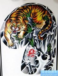 推荐来自玲珑魂中的帅气经典的半甲下山虎纹身手稿图片展示