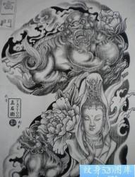 半甲纹身图片:半甲观音神兽唐狮纹身图片纹身作品