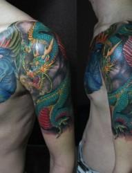 不动明王纹身龙纹身半甲纹身遮盖纹身