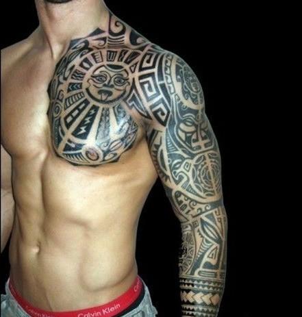 点击大图看下一张:半甲图腾花臂刺青